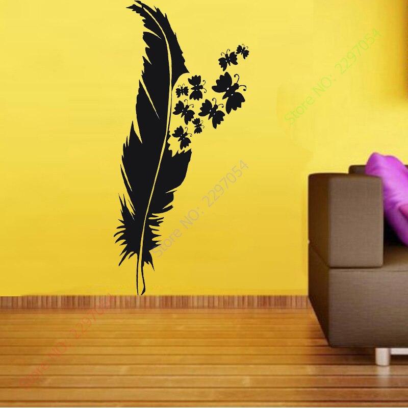 New Beauty Feather Plume wall art custom vinyl decals stickers decor ...