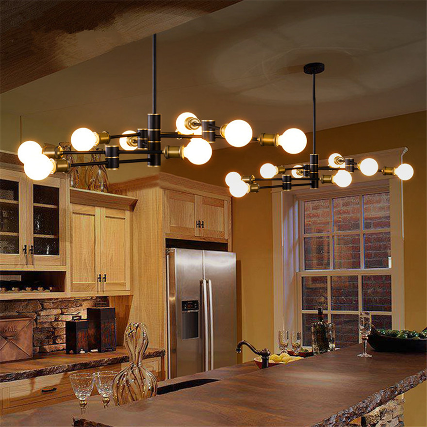 Modern contracted Creative romantic cafe bar counter restaurant living room lamps Helical molecular geometry droplight