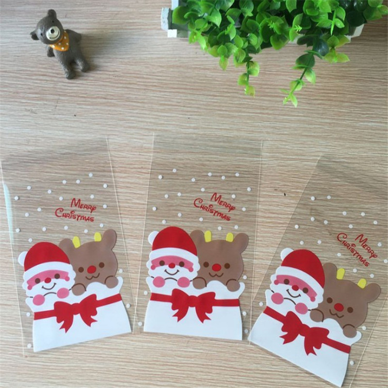 100X Christmas Cellophane Bags Party Cookie Sweet Candy Biscuit X-mas Gift Bag 10*15+3cm