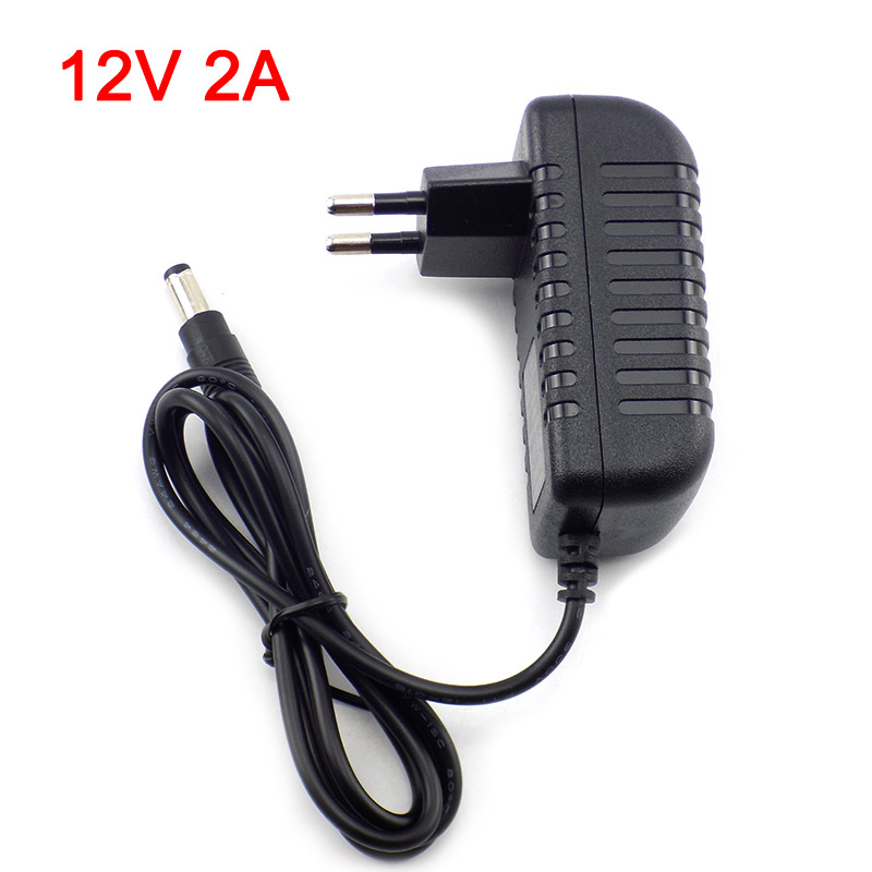 <font><b>12V</b></font> 2A <font><b>2000mA</b></font> US EU Plug 5.5mm x 2.1mm 100-240V AC to DC <font><b>Power</b></font> <font><b>Adapter</b></font> Supply Charger Charging <font><b>adapter</b></font> for LED Strip Lamp Switch image
