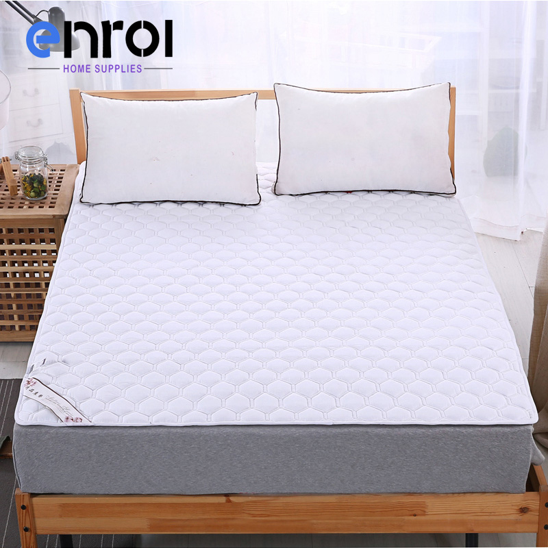 White Quilting Mattress Cover Queen King Size Quilted Protector Home Hotel Polyester Cotton