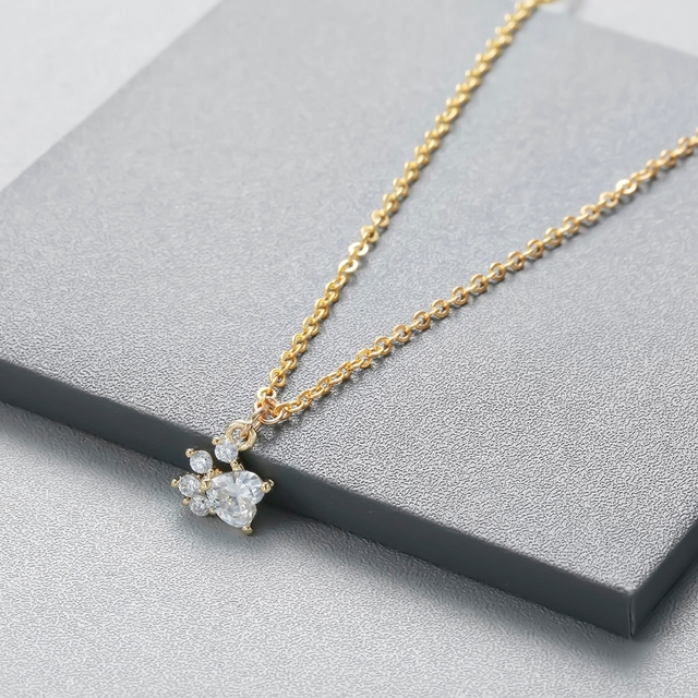 Todorova Crystal Dog Cat Paw Necklace