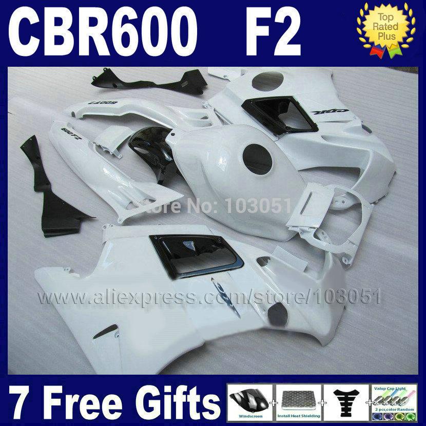 ABS Motorcycle fairings kits for Honda CBR600 F2 1991 1992 1993 1994 CBR 600 F2 CBR600 F 91 92 93 94 full white fairing set+ tan