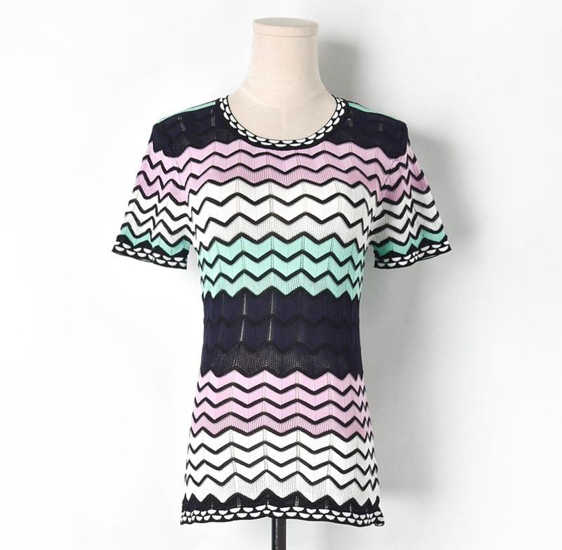 New 2019 Runway Korean Wave Hollow Out Striped t shirt Harajuku Women Knitted Tee Shirt Femme Casual Short Sleeves tshirt Top