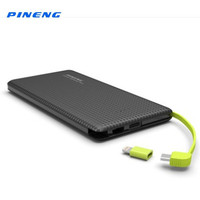 Genuine PINENG PN951 10000mAh Portable Mobile Power Bank Battery Charger Built In Charging Cable External Battery