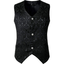 Black Steampunk Suit Vest Men Gothic Victorian Single Breasted Brocade