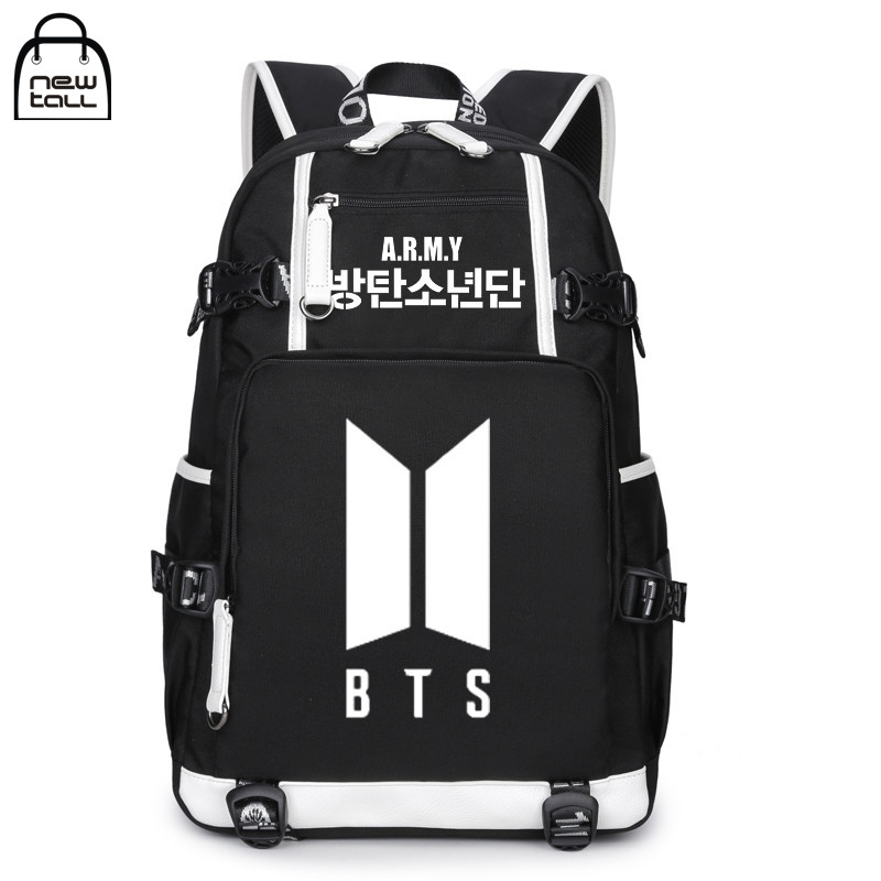 [NEWTALL] Kpop BTS Bangtan Boys 2017 New Logo ARMY Letter Backpack Large Capacity 17 Travelling Bag Fans Collection 17071299 k pop bts album bangtan boys v suga jin kpop wings blood sweat tears case ring 360 degree finger stand holder rings zhk