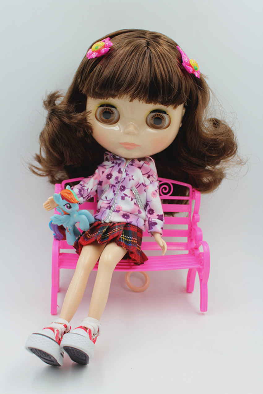 Blygirl poupée brune cheveux franges Blyth body Doll Fashion peut changer de maquillage