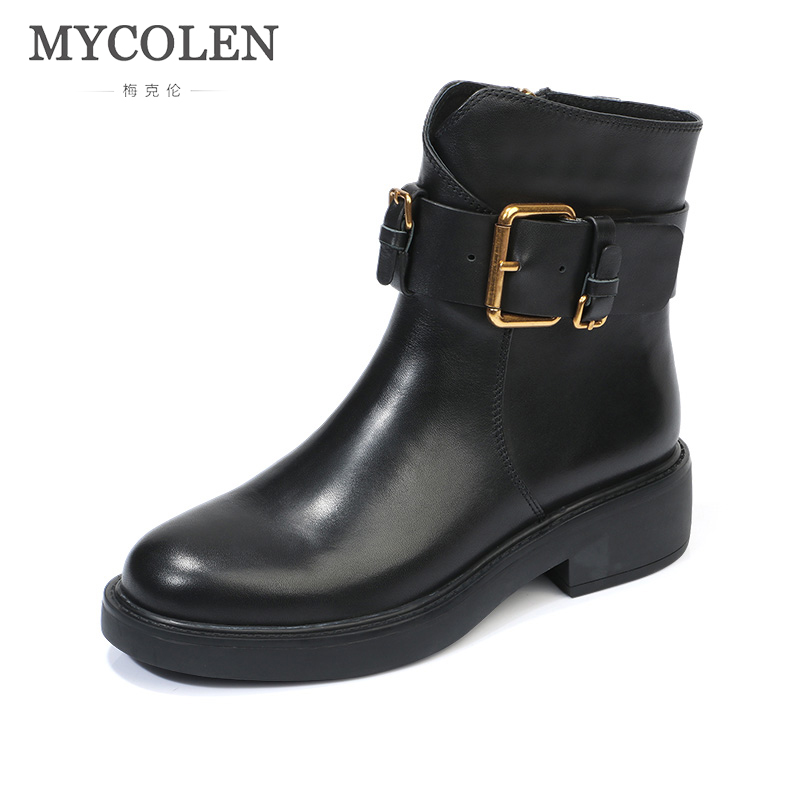 MYCOLEN 2019 Luxury Brand  Boots For Women Shoes Luxury Brand Top Fashion Buckle Mot Ocrycle Boots Women Chelsea Boots