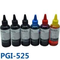 6x100ml PGI525 CLI526 Vivid Colors Printer Ink Refill Kit Bulk Ink For Canon PIXMA MG6150 MG6250 MG8150 MG8250 Printers pgi-525