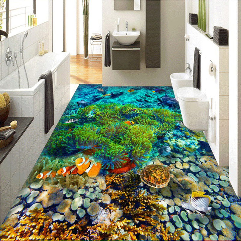 Floor Wallpaper For Sea Aquarium Modern Room Decor Mediterranean Undersea Scenery Dolphin Coral Custom Wall Paper For Bathroom