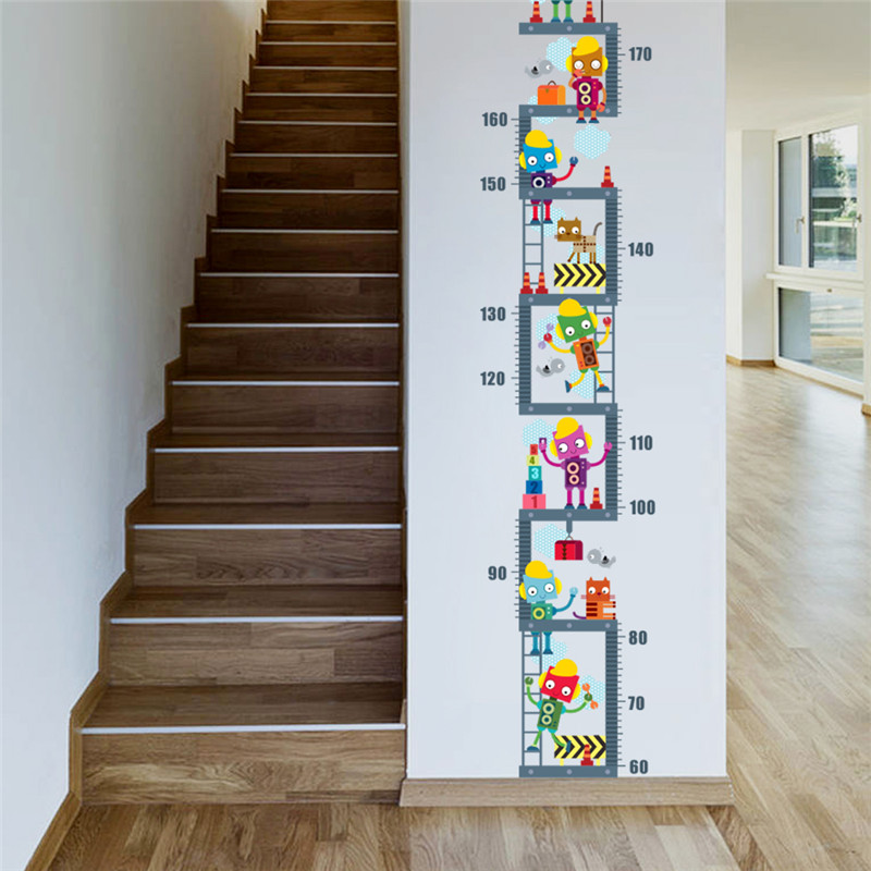 Robot Upstairs Height Measure Wall Sticker For Kids ... on Room Decor Stickers id=91323