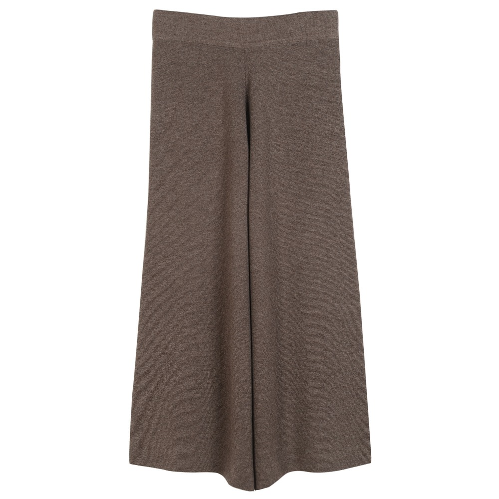 knitted   wide     leg     pants   2017 new spring winter fashion warm wool   wide     leg     pants   high quality brown black coffee color big stretch