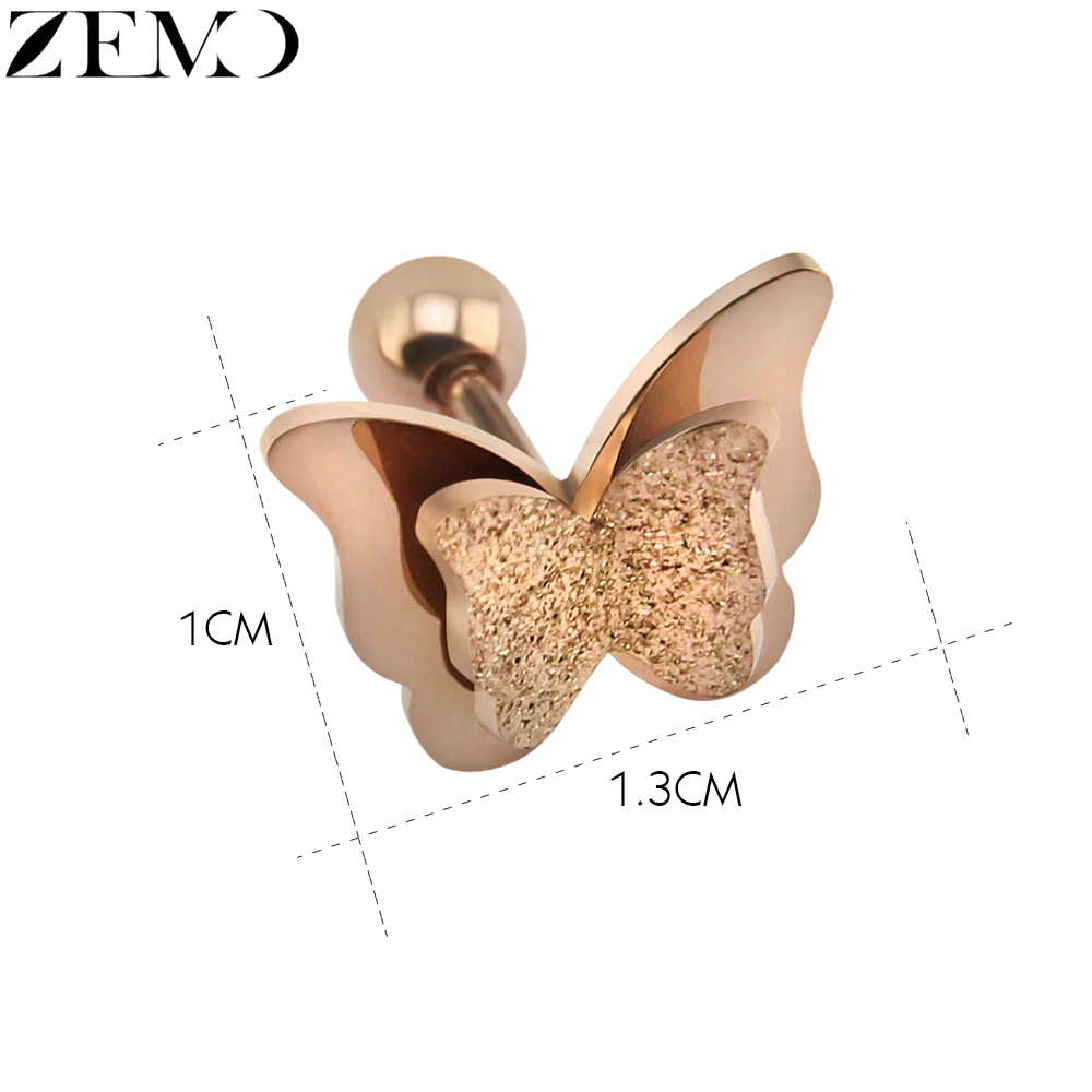 ZEMO Rose Gold Butterfly Stud Earring Female 316L Stainless Steel Black Earrings Ear Piercing Studs for Women Children`s Earring (6)