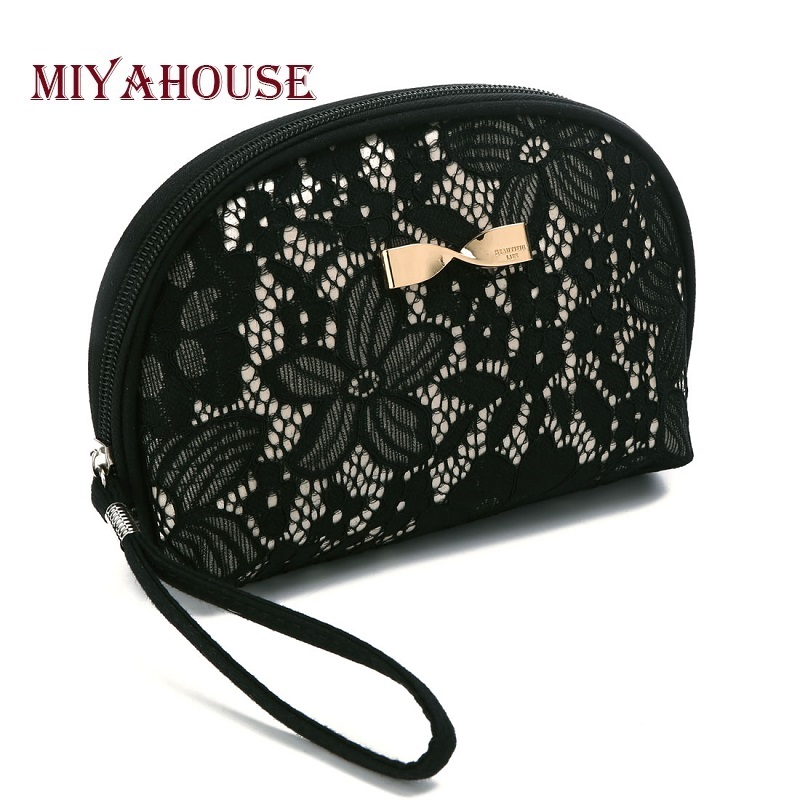 Miyahouse Luxury Black Lace Design Cosmetic Bag Metal Bow-Knot Women Zipper Makeup Bags Small Pouch Toiletry Wash Bag Lady
