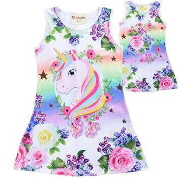 2019 Summer Girls Dress Butterfly Unicorn Print Kids Dresses Baby Girls Princess Dress Party Clothes Sleeveless Birthday Dresses