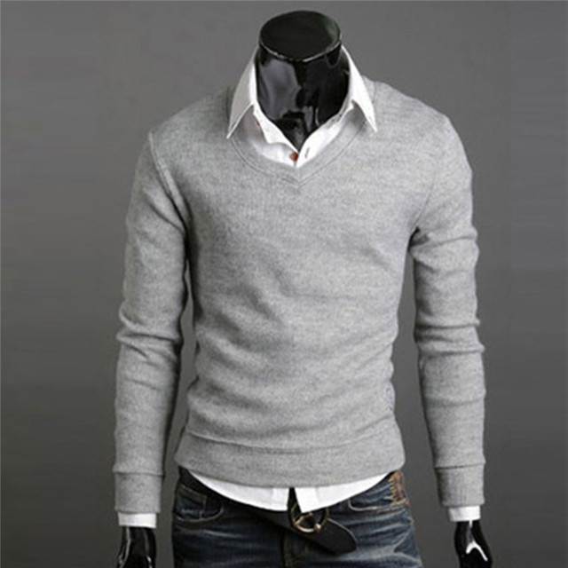 52bc05827c8 US $13.49 |2017 Men V Neck Sweater Male Pullover Tops Knitwear Sweaters  Solid Knitting Coat Black Grey Red 449-in Pullovers from Men's Clothing on  ...