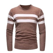 Sweater Men's Spring and Autumn Men's Slim Casual Large Size S-3XL Pullover Men's Fashion Round Neck Stripe  Comfortable Sweater цены