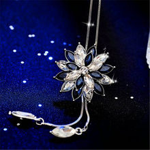 JUNXIN Luxury Sweater Chain Snowflake Pendants Silver Color White Blue Zircon Long Necklaces For Women Crystal Choker Jewelry(China)