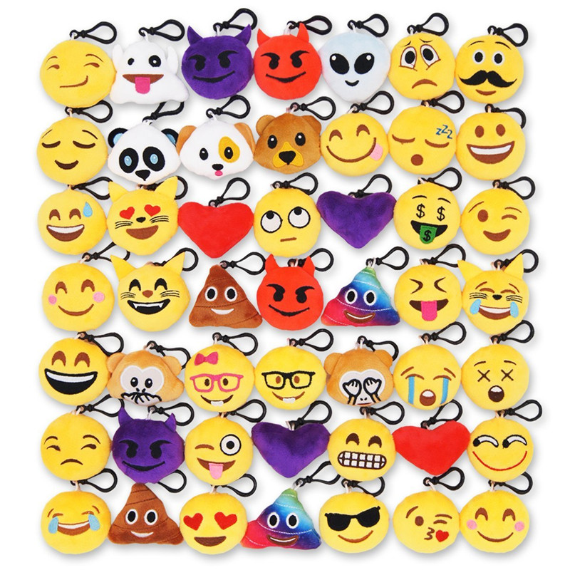 50pcs Emoji Poop Plush Keychain Birthday Party Favors Supplies Mini Pillows Set Emoticon Backpack Clips Toys