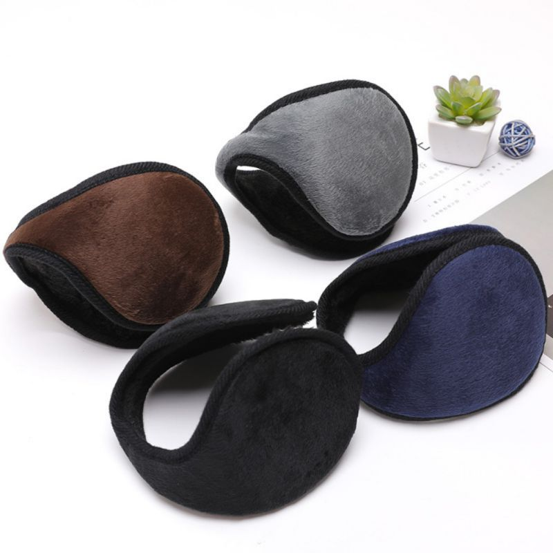 Winter Adult Unisex Earmuff Warm Flannel Foldable Wrap Thicken Outdoor Earmuffs Ear Bag Solid Portable Earflaps