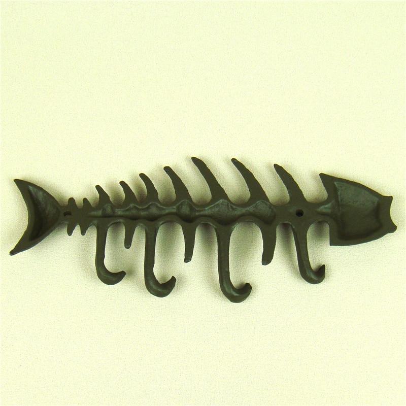 Cast Iron Art Fish Bone Model Wall Hook Handmade Metal Animal ...