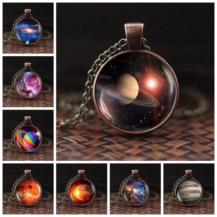 Charming Nebula Necklace Galaxy Space Glass Cabochon Pendant Solar System Jewelry Space Universe Necklace Milky Way Jewelry