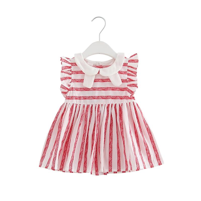 Baby Girls Clothes Summer Newborn Girls Dress Bebe Kid Baby Dress Red Striped Peter Pan Collar Puff Sleeve Baby Clothing 0-24M