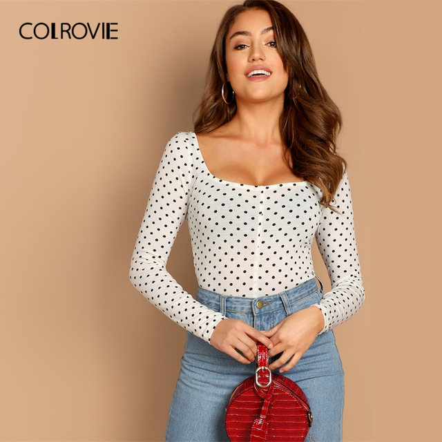 COLROVIE White Polka Dot Print Square Neck Casual T-Shirt Women Clothes 2019 Green Elegant Long Sleeve Shirt Slim Fit Sexy Tee
