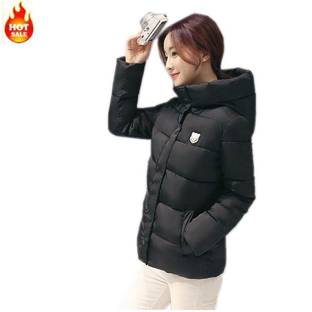 Mujeres Por la chaqueta de Invierno Nuevo Ocio de Moda Con Capucha Engrosamiento Súper abrigo Corto de manga Larga Delgado yardas Grandes chaqueta de Algodón c2