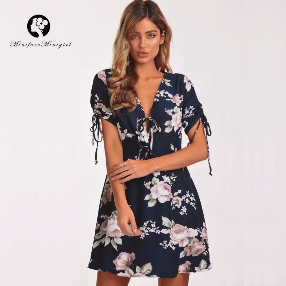 Vintage Summer Floral Print Short Dress Deep V Neck Hollow Out Women Sexy Mini Beach Dresses Vestidos