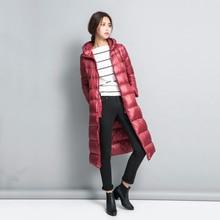 2016 Новое Прибытие Зима Женщины Утка Вниз Длинное Пальто Куртка Молнии Пиджаки
