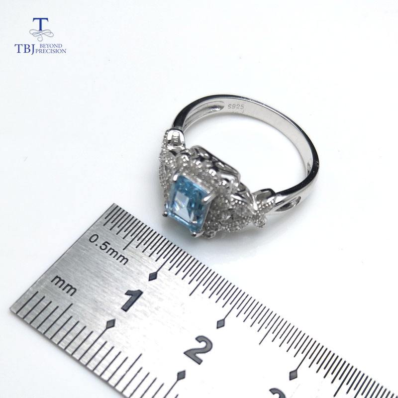 TBJ,2018 new elegant natural blue topaz ring solid 925 sterling silver jewelry fashion ring for women gift daily wear with box