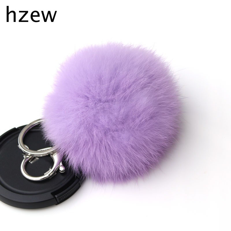 14Colors 8CM Genuine Rabbit Fur Ball Car Keychain New Year Gift Silver Plated Key Chain Women Gifts Couples Keychain Men