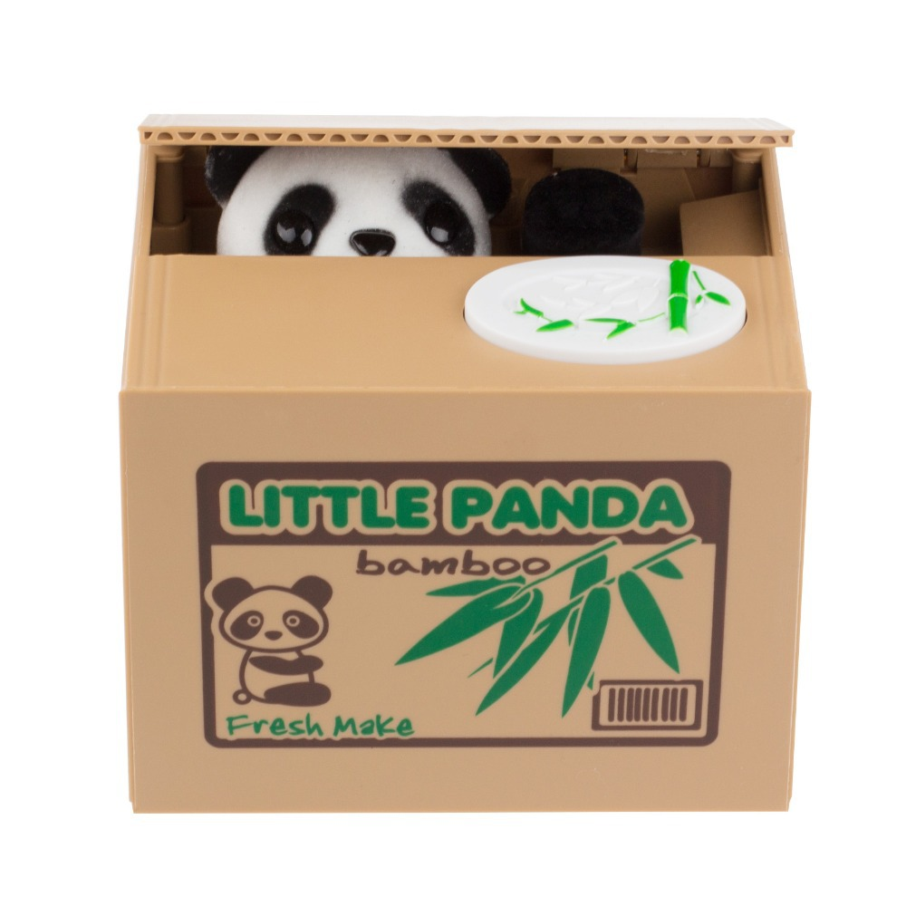 2016 New Cute Panda Automatic Stole Coin Piggy Bank 11.5x9.5x9cm Size Money Saving Box Moneybox Gifts for Kids free shipping