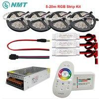 DC12V RGB Led Şerit SMD 5050 Su Geçirmez/Olmayan Su Geçirmez Led Işık + 2.4G RF Uzaktan Kumanda + Güç adaptör Kiti 5 M 10 M 15 M 20 M