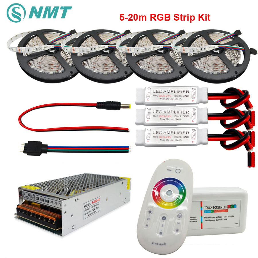 DC12V RGB Led Strip SMD 5050 Waterproof/Non Waterproof Led Light+2.4G RF Remote Controller+Power adapter Kit 5M 10M 15M 20M dc 12v rgb rgbw led strip 5050 ip65 waterproof flexible led light 2 4g rf remote controller power adapter kit 20m 15m 10m 5m