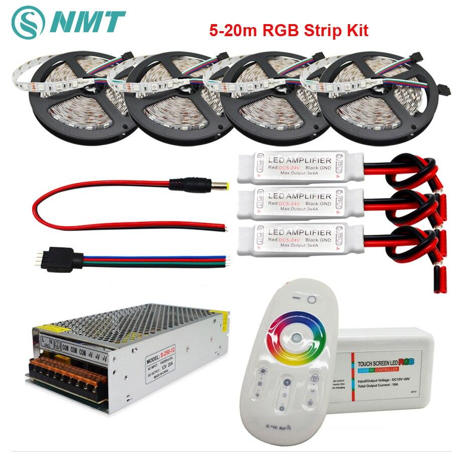 DC12V RGB tira de Led SMD 5050 impermeable/Led impermeable Led luz + 2,4g controlador remoto + RF adaptador de corriente Kit de 5 m 10 m 15 M 20 m