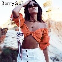 BerryGo Off shoulder knot sexy tank top Streetwear dot long sleeve camisole shirt 2018 Summer beach tops tees women