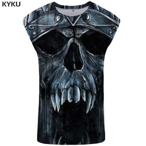 KYKU Brand Skull Tank Top Women Punk Summer Top Hip Hop Sleeveless Shirt Gothic Ftness Rock Sexy Ladies Tops Womens Clothing