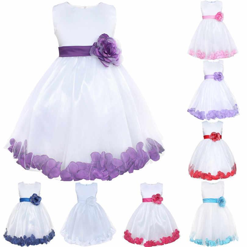 TiaoBug Новый 8 цветов Детские Платья для девочек на свадьбу Лепестки роз Принцесса Театрализованное Платья для вечеринок Формальные Первое причастие Тюль Кружево платье