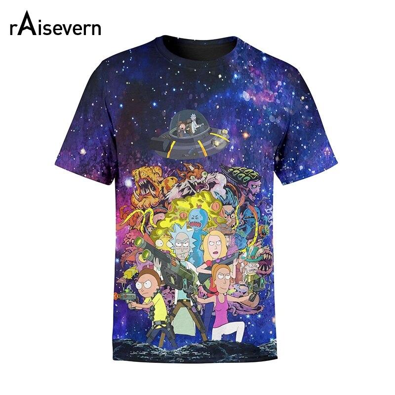 a5796e566 Rick E Morty Raisevern Homens Tshirt Mulheres Espaço Galaxy 3D Camisetas  Verão Tops Casual Camiseta Unisex