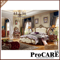 European Luxury Classic Solid Wood High Bed Luxury Villa French Court Painting High Solid Wood Bed