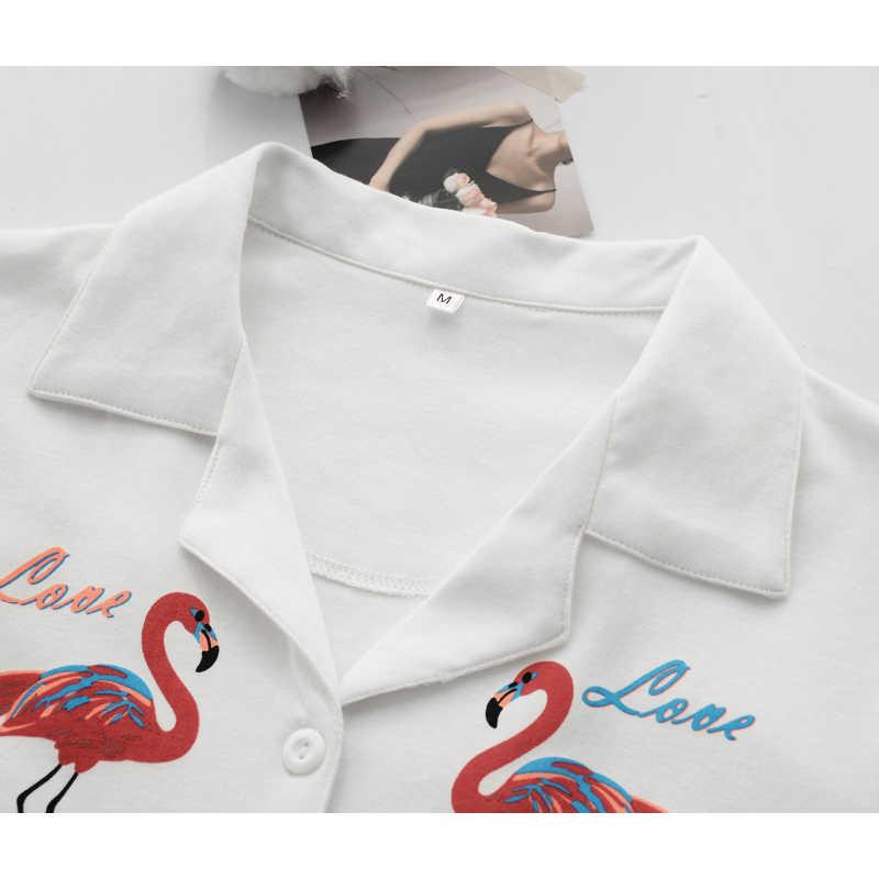 ... Vilacoroa Реверсивный воротник повторяющийся Фламинго печати блузка и  шорты пижамный комплект белый короткий рукав Милая одежда ... 341000796c47d