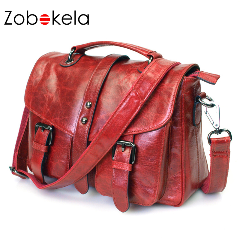 Zobokela High quality handbags women brands retro genuine leather bag women messenger bags shoulder bags first layer of leather new women genuine leather handbags shoulder messenger bag fashion flap bags women first layer of leather crossbody bags