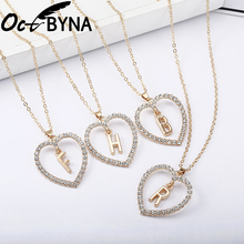 Octbyna Romantic Love Heart-shaped Pendant Necklace For Women Girls Rhinestone Gold Letter Necklace Trendy Charms Jewelry Gifts rhinestone heart shape romantic necklace for women