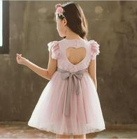 New Summer Baby Girls Fairy Back hollow Out Bow Flower Dress, Princess Kids Sweet Candy Clothing 5 pieces/lot, Wholesale
