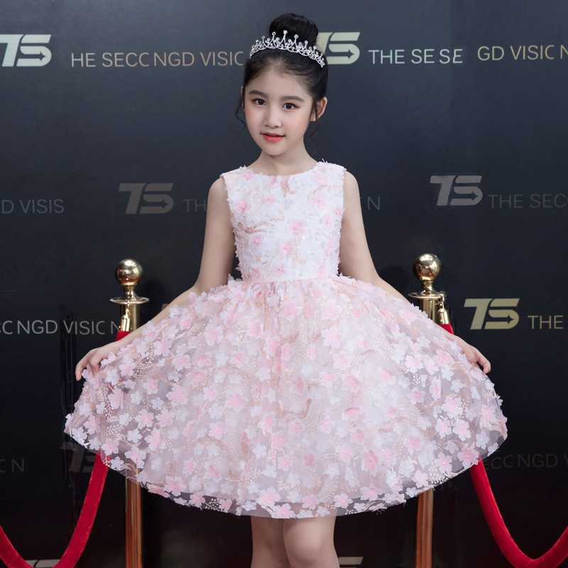 Baby Kids Elegant Appliques Flowers Birthday Evening Party Princess Dress Infant Toddler Host Piano Costume Ball Gown Dress WearBaby Kids Elegant Appliques Flowers Birthday Evening Party Princess Dress Infant Toddler Host Piano Costume Ball Gown Dress Wear