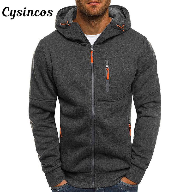 CYSINCOS 2019 New Men's Hoodies Casual Sports Design Zipper Autumn Winter Jacket Long-sleeved Cardigan Hooded Men Hoodie