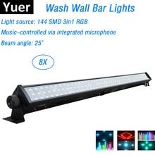 8 יח\חבילה LED בר אורות 144Pcs SMD נוריות RGB מלא צבע LED קיר לשטוף אורות מושלם עבור מסיבת חתונה דיסקו אירועים תאורה